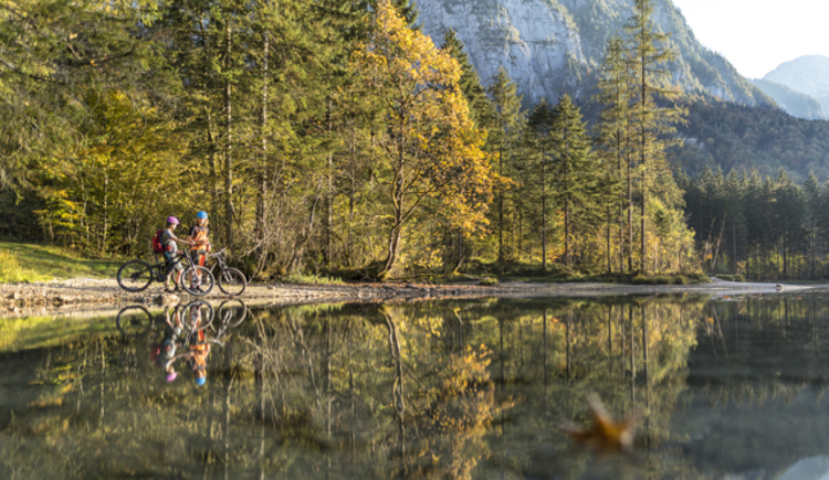 Romantic autumn mood at the Lake Koppenwinkl in Obertraun