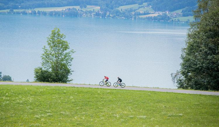 Radfahren entlang der Uferstraße am Attersee in Oberösterreich Salzkammergut. (© 2019-Bergwelten-Attersee_ServusTV-Leo-Neumayr-2)