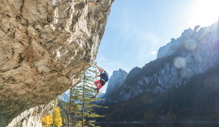 Die Leiter am Gosauseeklettersteig bringt die Kletterer über den Weg auf schöne Felsklettereien. (© Rudi Kain Photografie)