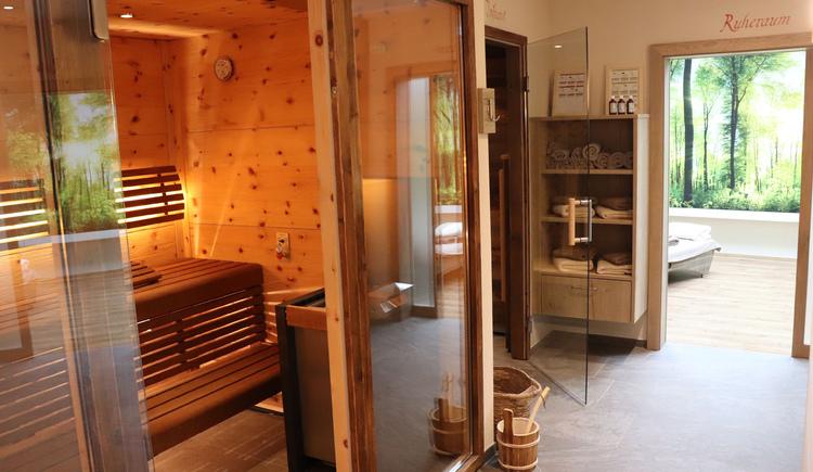 Blick in die Sauna und Wellnessbereich