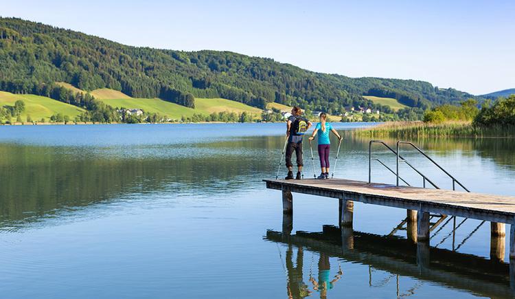 Wanderer stehen auf einem Steg, im Hintergrund der See und die Landschaft. (© Valentin Weinhäupl)