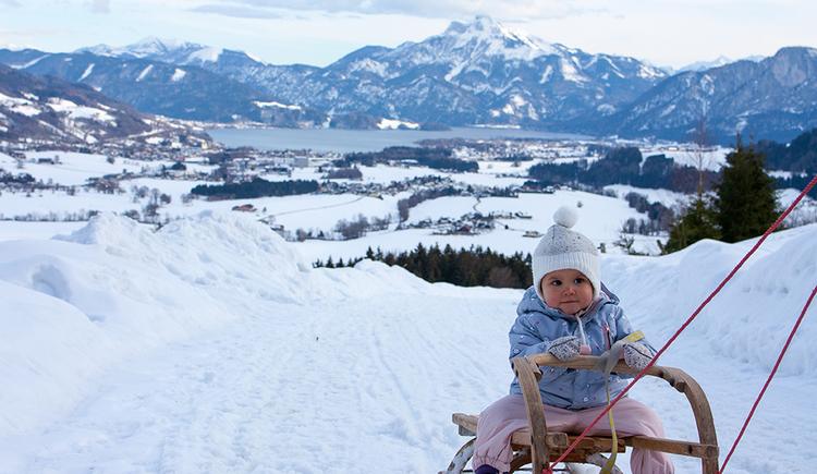 Child on sledge. (© TVB Mondsee-Irrsee)