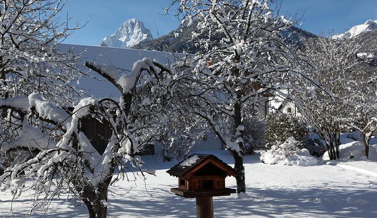 Winterlicher Garten rund ums Hotel Garni Wallner