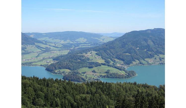 Blick auf die Landschaft und die beiden Seen. (© Tourismusverband MondSeeLand)