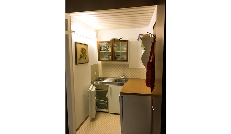 View of the sink, fridge\n