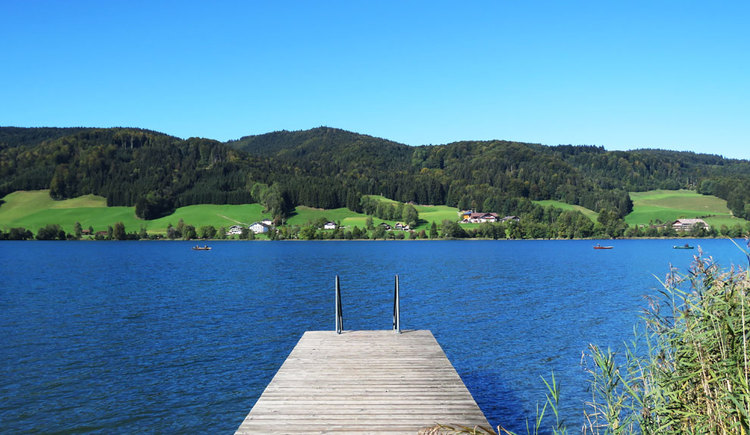 Lake Irrsee with view to the other side of the lake with hills and forests