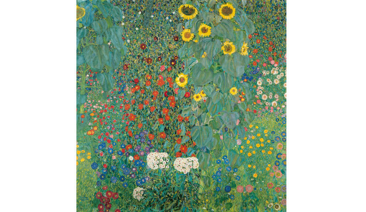 Bauerngarten mit Sonnenblumen 1908