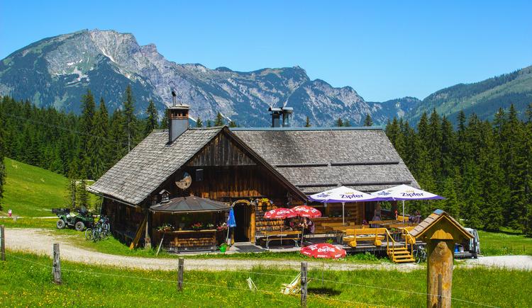 Hier sieht man die Zeishofalm im Sommer bei schönem Wetter, das Bild wurde im Sommer 2019 aufgenommen. (© Heinz Neubacher)