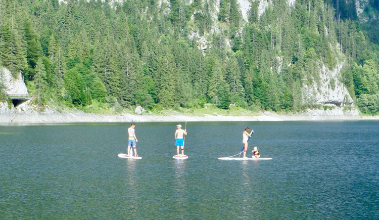 Cross the Gosau Lake together with Stand Up Paddle.