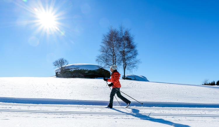 Eine Langläuferin, die auf der Loipe unterwegs ist. Im Hintergrund strahlend blauer Himmel, die Sonne und ein großer Granitfels mit Bäumen. (© TVB Mühlviertler Alm Freistadt/Dieter Hawlan)