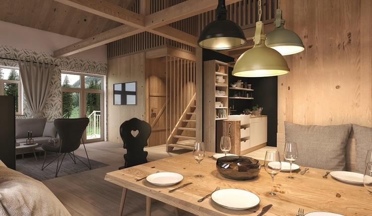 Holztisch mit Tellern und Gläsern und Stühlen.