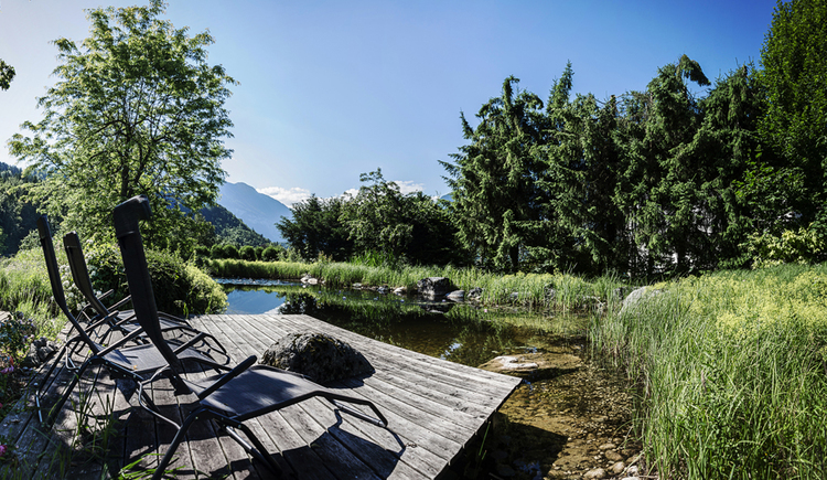 Hier sieht man den schönen Schwimmteich der Villa Anna inklusive Liegen.
