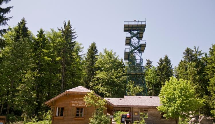 Aussichtsturm aus Eisen von unten gesehen und einem Holzhaus im Vordergrund. (© Ferienregion Böhmerwald)