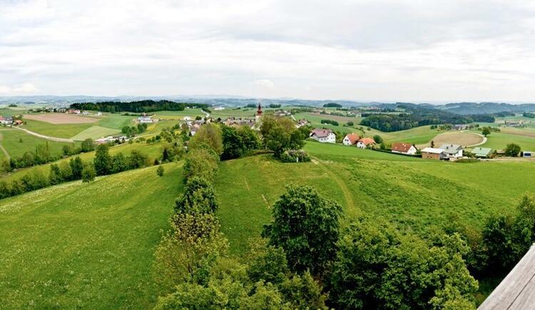 Panorama Kirchberg - Blick vom Aussichtsturm Burgstall (© WGD Donau Oberösterreich Tourismus GmbH/Weissenbrunner)