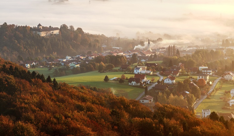 Blick vom Panorama-Aussichtsturm Erlebnisberg Luisenhöhe. (© Tourismusverband Urlaubsregion Vitalwelt Bad Schallerbach / Mühlleitner)