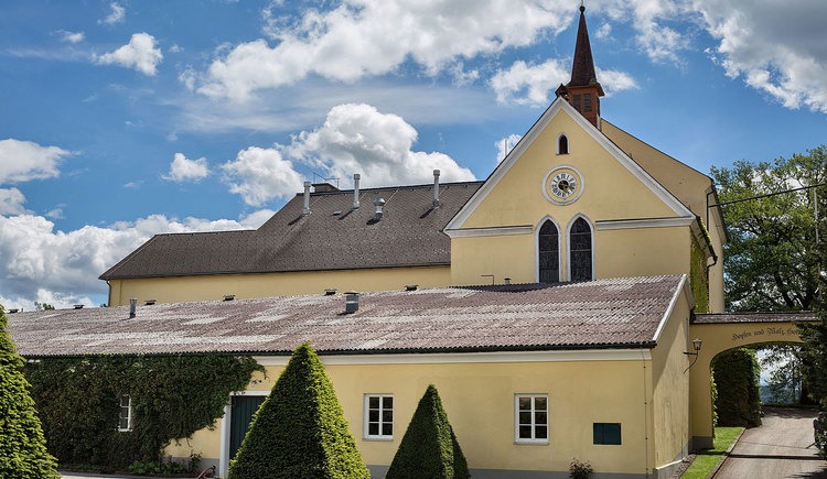 Innenhof und Kirche der Brauerei Schloss Eggenberg