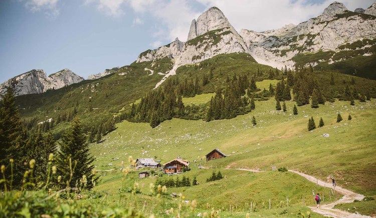 Entlang von Almen und Hütten geht es rund um den Dachstein bei einem einzigartigen Panorama. (© © dachsteinrundwanderweg © ladyvenom)