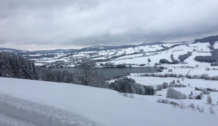 Ausblick auf die verschneite Landschaft