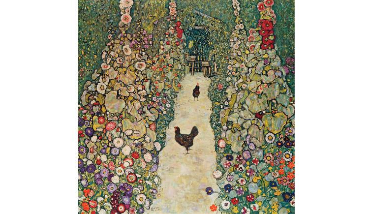 Gartenweg mit Huehnern 1916
