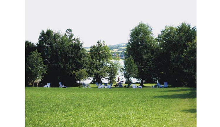 Bathing place, deckchairs, trees, in the background the lake. (© Dittlbacher)