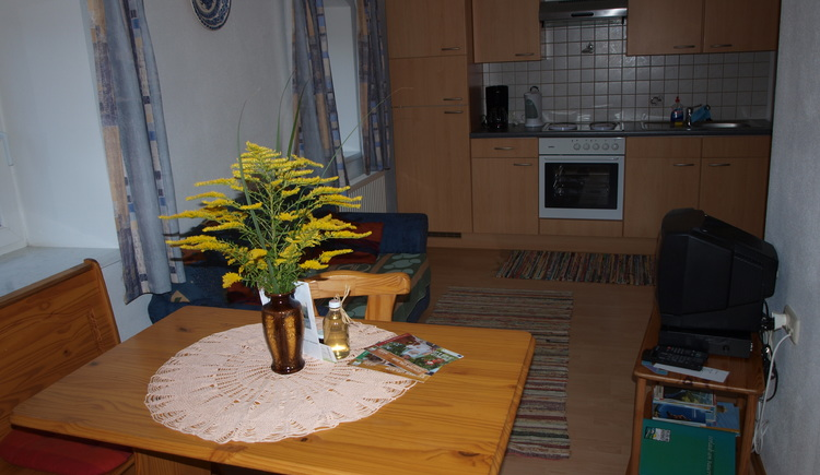 Wohnkueche mit Couch,Essecke und Sat-TV