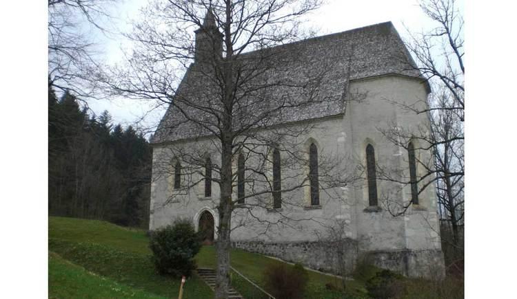 Blick auf eine Kirche, im Hintergrund ein Wald. (© www.mondsee.at)