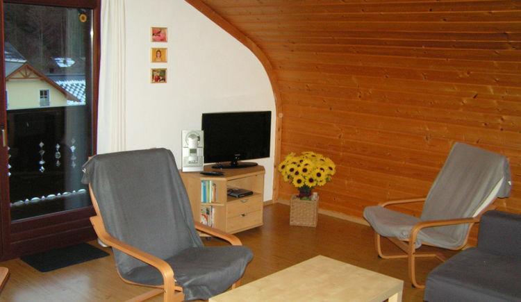Das Bild zeigt das Wohnzimmer mit Schwingsessel und TV. (© Abel Gans)