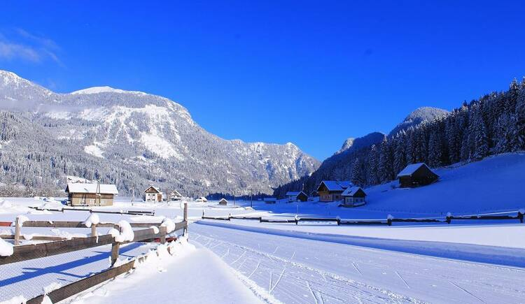 The cross-country ski trail passes directly behind the house. (© Vitalhotel Gosau)