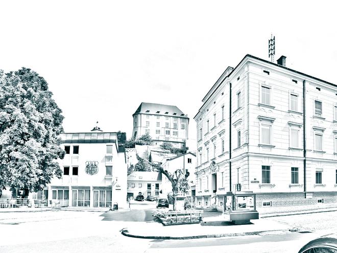 Stadtamt mit Schloss_Duplex (© Stadtgemeinde)