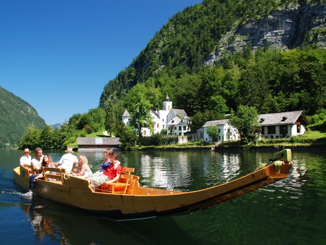 Navia flatboating on Lake Hallstatt