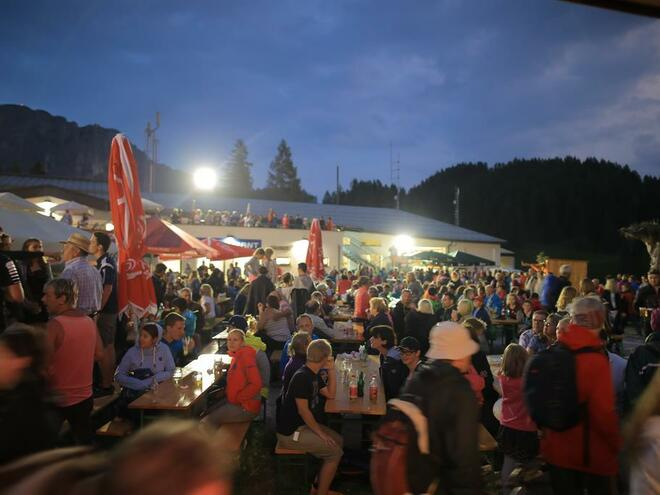 alp celebration at Wurzeralm with night fire of the mountain