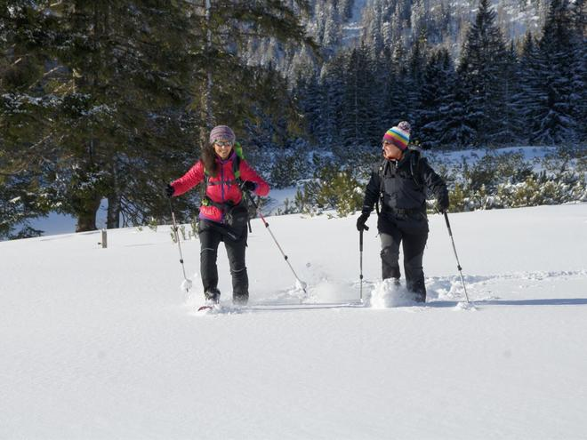 Experience the winter idyll on the Teichlboden with snowshoes