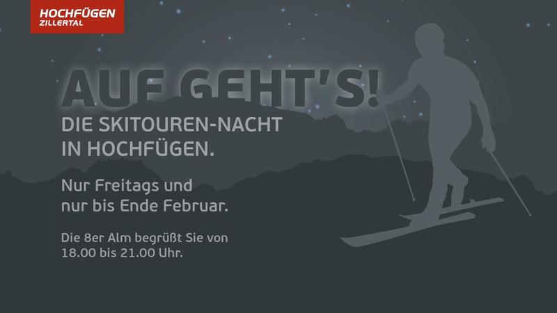 Night ski touring in the Zillertal