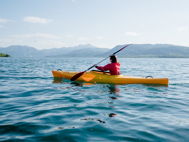 Kayak days in the turquoise lake Attersee