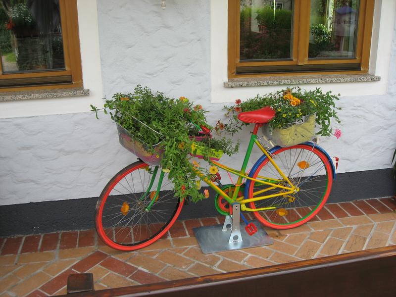 Spitzerwirt, bei uns kommen auch die Blumen mit dem Fahrradl