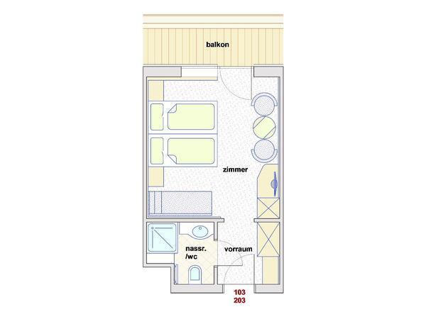 Skizze Doppelzimmer Superior