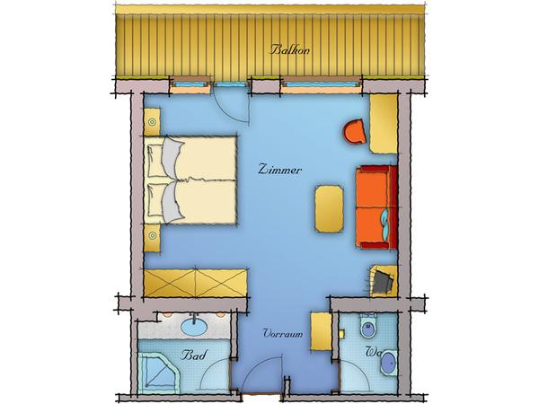 Wohnkomfortzimmer Spieljoch - Grundriss 1