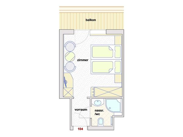 Skizze Doppelzimmer Classic