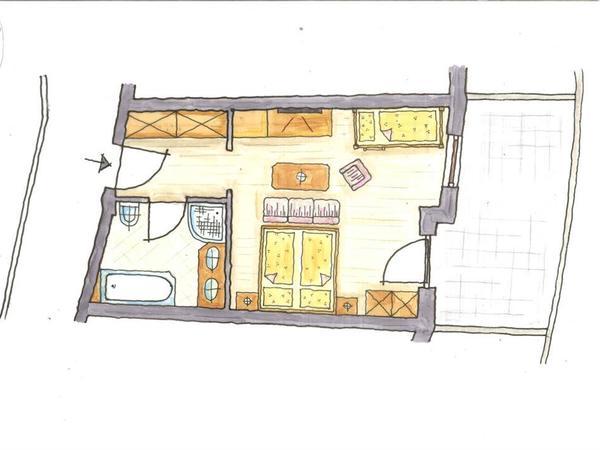 Beispielgrundriss Doppel- bzw Familienzimmer