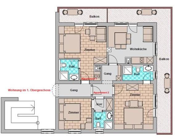 Alternativ auch große Wohnung buchbar