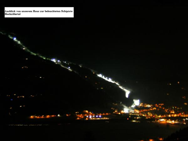 Nachtschilauf in Kaltenbach - Ausblick vom Balkon
