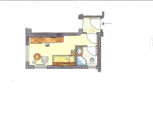 Beispielgrundriss Einzelzimmer