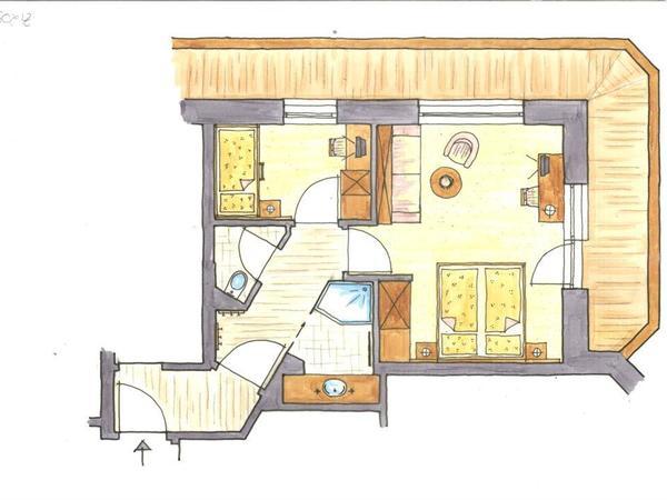 Beispielgrundriss Familienappartement