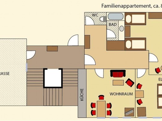Family lodging in Mondsee, holiday apartment at the hotel Leitnerbräu, situated on the 3rd floor, with lift accessible, consisting of 3 rooms and bath / WC. (© Familienappartement im Hotel Leitnerbräu, www.leitnerbraeu.at)