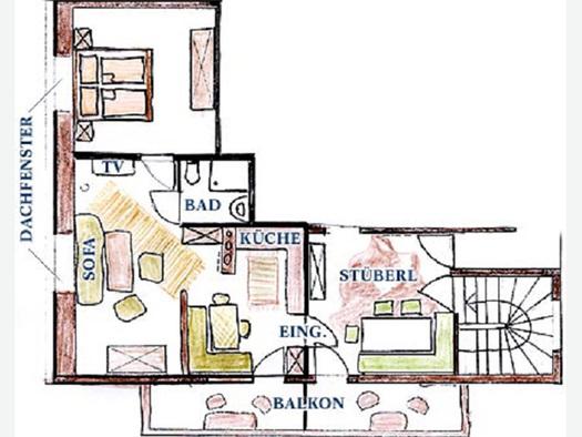 Skizze von der Ferienwohnung, Raumaufteilung. (© Familie Laireiter)