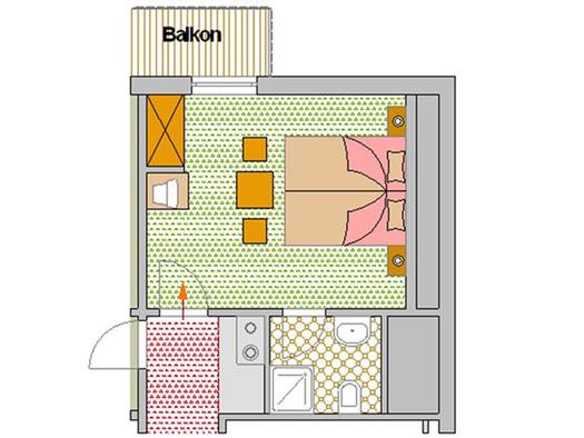 Zimmerplan Lilie (© Pension Haus Helene)