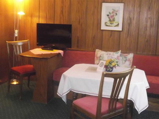 Bank, Tisch und Sesseln, auf einen Tisch steht ein Fernseher, im Hintergrund hängt ein Bild an der Holzwand, seitlich eine eingeschaltete Stehlampe, Teppichboden. (© Knoblechner)