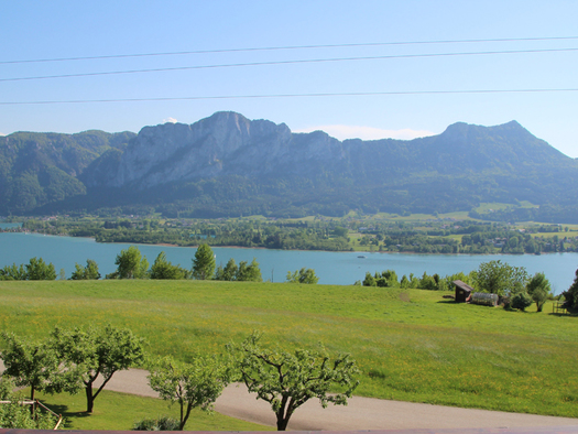 landscape, lake, mointain in the background. (© Tourismusverband MondSeeLand)