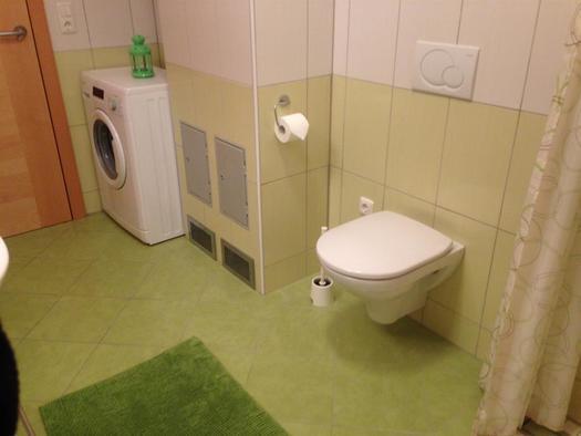 Bad mit Waschmaschine und Toilette (© A. Gösweiner)