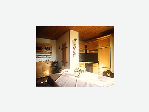 Wohnbereich, seitlich Küche mit Herd, im Vordergrund Tisch und Stuhl, im Hintergrund Kommode, Pflanze. (© Familie Laireiter)